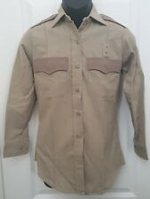 Flying Cross Mens L/S Uniform Sz 32 Med Beige Button Shirt Police EMT Fire A03
