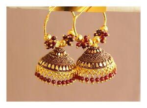 Indian Wedding Gold Pearl Fashion Ethnic Bollywood Hoop Jhumka Earrings Jewelry