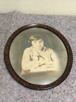 Antique Oval Frame With Convex Glass-Photo Of Young Girl-Named