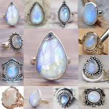 925Silver Sterling Solid Natural Moonstone Gemstone Rings Band Bridal Jewellry