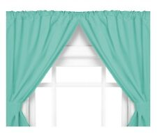 Vinyl Bathroom Window Curtain. 2 Panels with Tie Backs: 5-Guage Jade/Blue