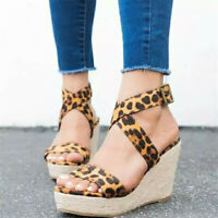 Womens Ladies Summer Wedge Ankle Strap Buckle Sandals Platform Heels Shoes