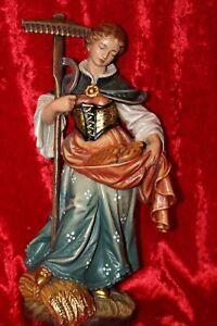 Holzfigur Heilige Notburga 27cm Heiligenfigur alpenländisch Grödnertal
