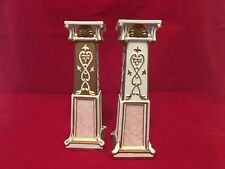 1 SET OF TWO VILLEROY & BOCH PINK AND GOLD CANDLE HOLDERS