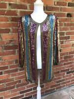 Vintage 80s Rainbow Sequin Jacket Coat Jewel Queen XL Tunic Length Disco Silk