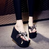 Womens High Platform Wedge Heel Bowknot Casual Slippers Shoes Slingback Sandals