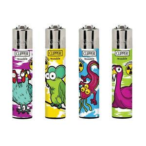 4 Clipper Lighters, Mutant Animals Design. 1 of Each Colour. Refillable