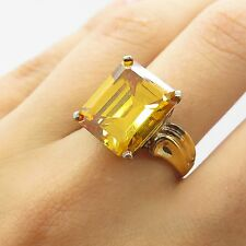 Sterling Silver Gold Plated Large Lemon Citrine Gem Women's Solitaire Ring Size