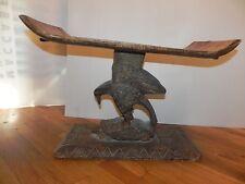 "Arts of Africa - Ashanti Chief Stool - Ghana - 17"" Height x 27.5"" Long 13.75"" Wi"