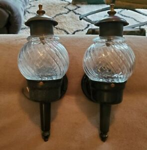 Vintage Pair Wall Mount Porch/Shed/Shop Metal & Plastic Carriage Lights
