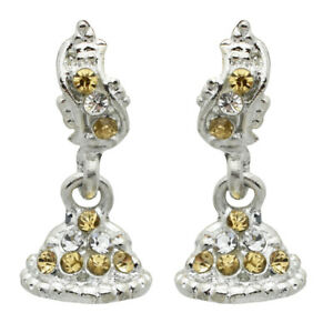Silver 925 Sterling Silver Citrine and White Cz gemstone earrings 8.7gm 25x13mm