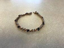 "Sterling Silver Sapphire CZ Vermeil Tennis Bracelet 7.5"""
