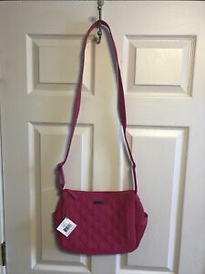 "Vera Bradley NWT On The Go Shoulder crossbody Bag Fuchsia 9"" x 12"" x 4.5"", 25"""