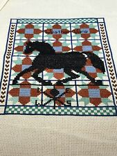 Vintage Completed Cross Stitch Needlepoint Horse Weather Vane Unframed
