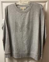 New Michael Michael Kors Gray  Logo Silver Studded Sweatshirt Size M