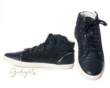 Lanvin Size 39 Black Leather Suede Hi-Top Sneakers