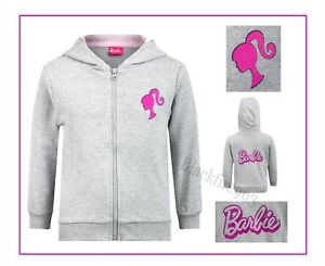 Girls Official Barbie Hoodie Grey Character Hooded Sweatshirt Top 1-6 Years NEW