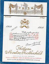 PAUILLAC 1EGCC ETIQUETTE CHATEAU MOUTON ROTHSCHILD 1954 73 CL DECOREE §06/02/17§