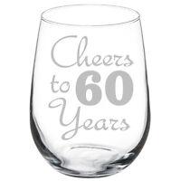 Cheers to 60 Years Anniversary 60th Birthday Gift Wine Glass