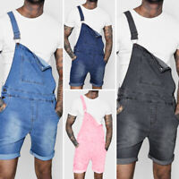 Mens Denim Loose Carpenter Overalls Jumpsuits Dungarees Bib Pants Jeans Jumpsuit