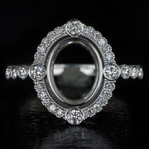 G-H VS ROUND DIAMOND OVAL HALO PLATINUM ENGAGEMENT RING SETTING COCKTAIL VINTAGE