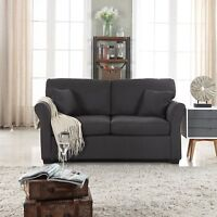 Classic Cozy Comfortable Fabric Love Seat Sofa, Living Room Loveseat, Dark Grey