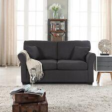 Classic Cozy Comfortable Fabric Love Seat Sofa, Living Room Loveseat, Dark Grey