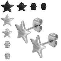 4 Paar Ohrstecker Ohrringe Edelstahl Stern Motiv Set schwarz silber Damen Herren