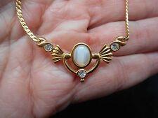 Authentic Vintage AVON Gold Tone Faux Moonstone Plaque Necklace