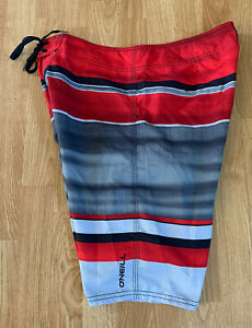 New Basic Red & Gray O'Neill Striped Surf Lifeguard Bodyboard Shorts Hawaiian 33