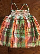 *GYMBOREE* Girls CORAL REEF Plaid Smocked Top Size 3-6 Months