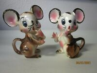 Vintage Napco 1950s Japan Anthropomorphic Pair of Mice Pink Ears Blue Eyes Mouse