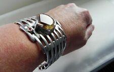 ✨MASSIVELY UNUSUAL✨ 85g sterling silver 925 citrine ruby gem statement bracelet