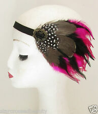 Hot Pink Native American Feather Headdress Headband Red Indian Vintage Black P50
