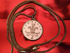 """1987 UK Two Pence Proof Coin Pendant on an 18K  28"""" Gold Filled Foxtail Chain"""