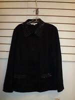 JM Collection New Womens Large In Harmony Ebony Black Coat Jacket