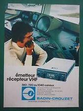 2/1978 PUB BADIN CROUZET EMETTEUR RECEPTEUR VHF AEROPORT ORIGINAL FRENCH AD