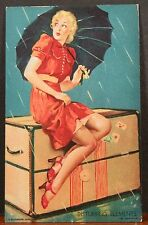 Elvgren Mutoscope Card Blond Caught In the Rain With Umbrella and Travel Trunk