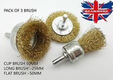 3pcs Drill Wire Wheel / Cup / Long Brush Metal Cleaning Rust Removal Grinder Set