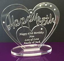 Personalised 65th Birthday Gift Heart with message -  Free Standing Keepsake