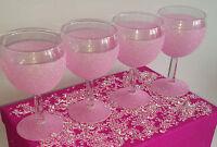 4 LIGHT PINK GLITTER GLASS SET WEDDING BRIDE PRESENT BIRTHDAY CHRISTMAS GIFT