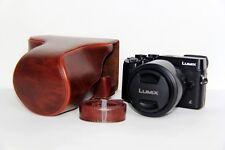 Coffee leather case bag for Panasonic LUMIX DMC-GX8 G Vario 14-140mm lens GX8