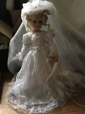 "UniQue Porcelain Bride Doll Rosalie 15 1/2"" Limited Ed-Bridal-Beads-Cloth Body"