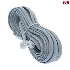 20FT RJ11 6P4C 28AWG Straight Telephone Phone Line Extension Cord Cable For Data