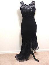 CACHE Sz 4 S Black Silk & Mesh Body-Con Evening Dress Gown Embellished Mermaid