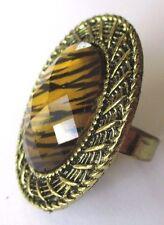 Bague réglable bijou vintage couleur or bronze cabochon résine œil de tigre 201
