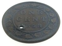 1858 Canada Key 1 Cent Large Penny Copper Canadian Circulated Victoria Coin M604