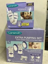 New Lansinoh Extra Pumping Set 2 Breast Cups Bottles + 100 Storage Bags All New