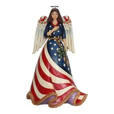 JIM SHORE HEARTWOOD CREEK PATRIOTIC ANGEL WITH FLAG DRESS 6001084*