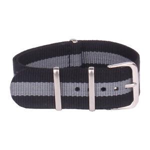 Black Grey Stripe Watch Strap 18mm 20mm 22mm Watchband Nylon Wristwatch Band